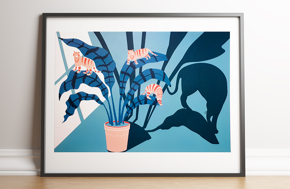Limited Edition Art Print, Kitty Katz plant print by Jasmine Chin