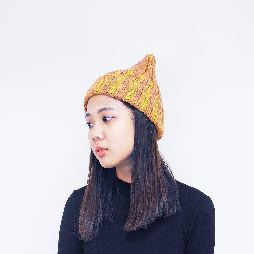 Winter wooly hats - orange alpaca wool beanie hat