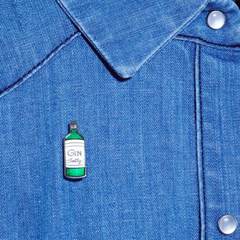 Enamel gin bottle brooch