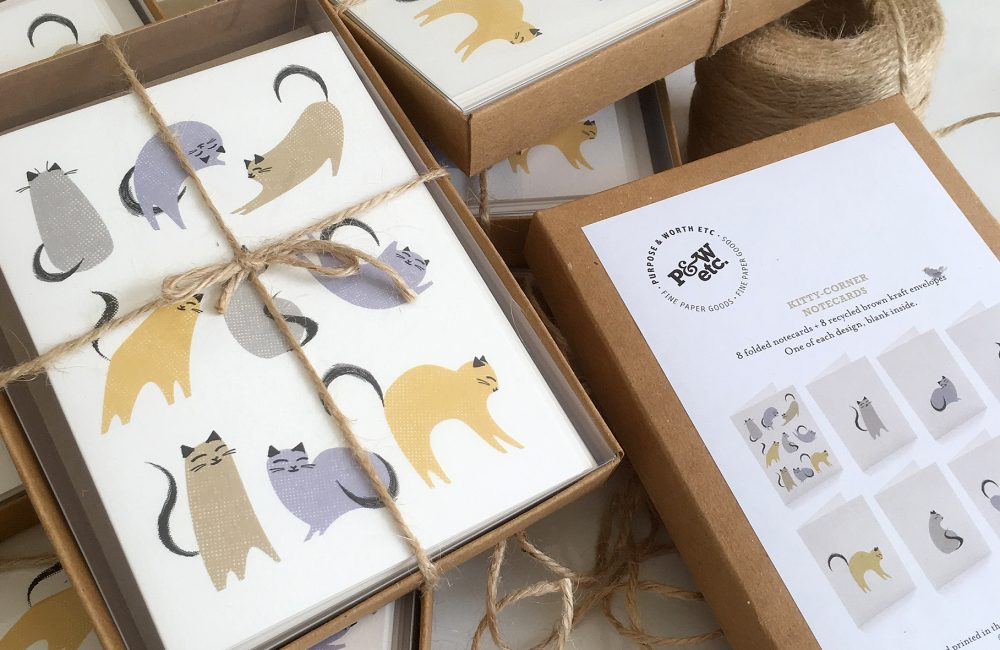 Boxes of cards with cat illustrations