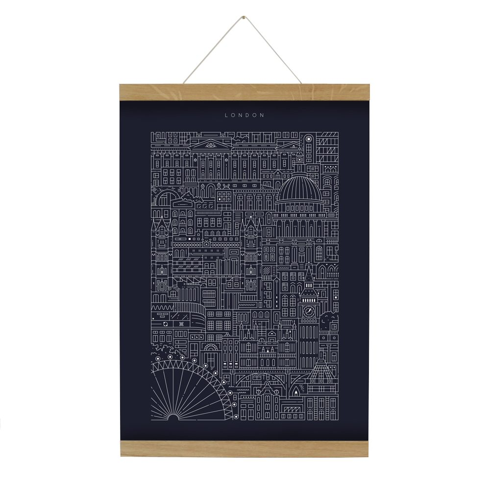 Home wall art - dark blue print with white line illustrations of London landmarks