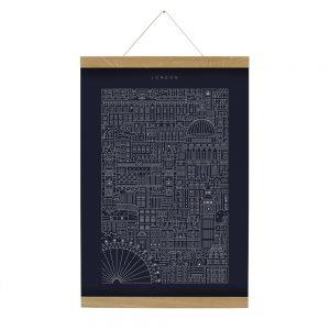 Home wall art - dark blue print with white line illustrations of London landmarks