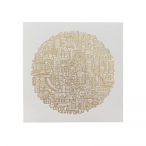 Home wall art - illustrated print of London in gold foil on white background