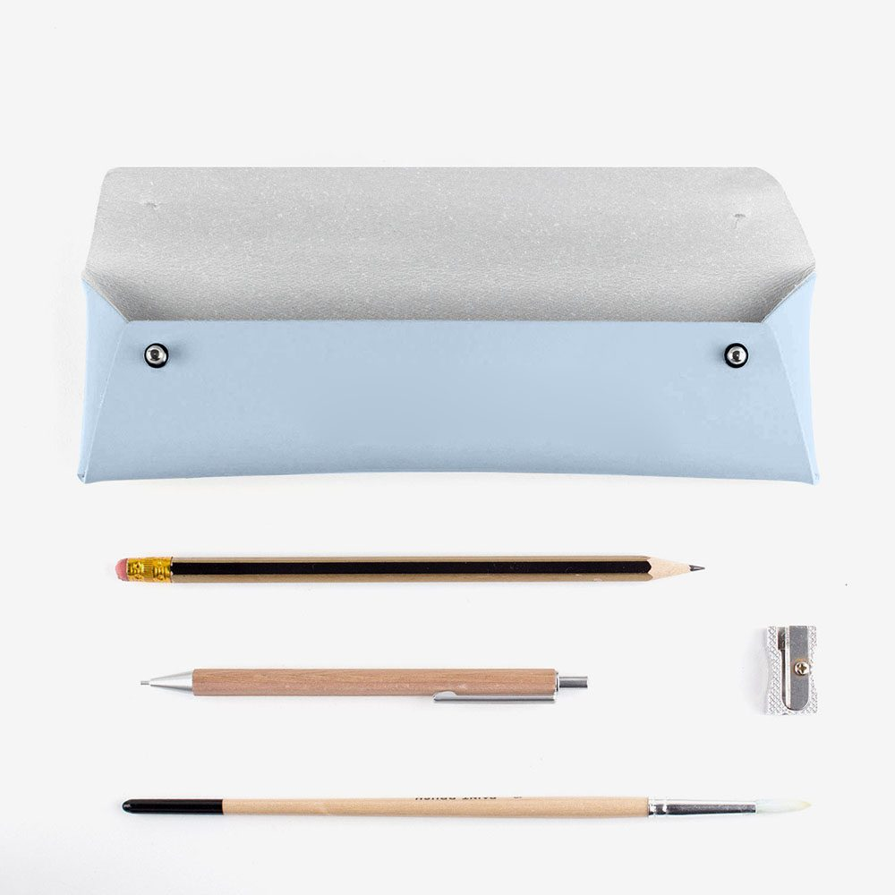 Stationery gifts - recycled leather pencil case light blue