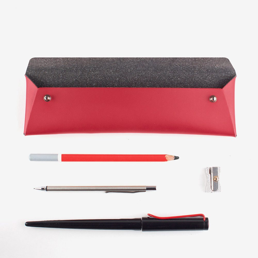 Stationery gifts - recycled leather pencil case red