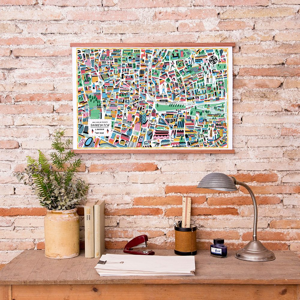 Home wall art - illustrated map of Shoreditch