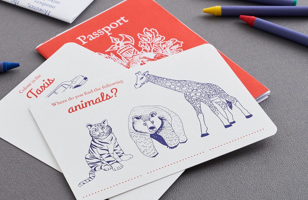 Activity card with zoo animals
