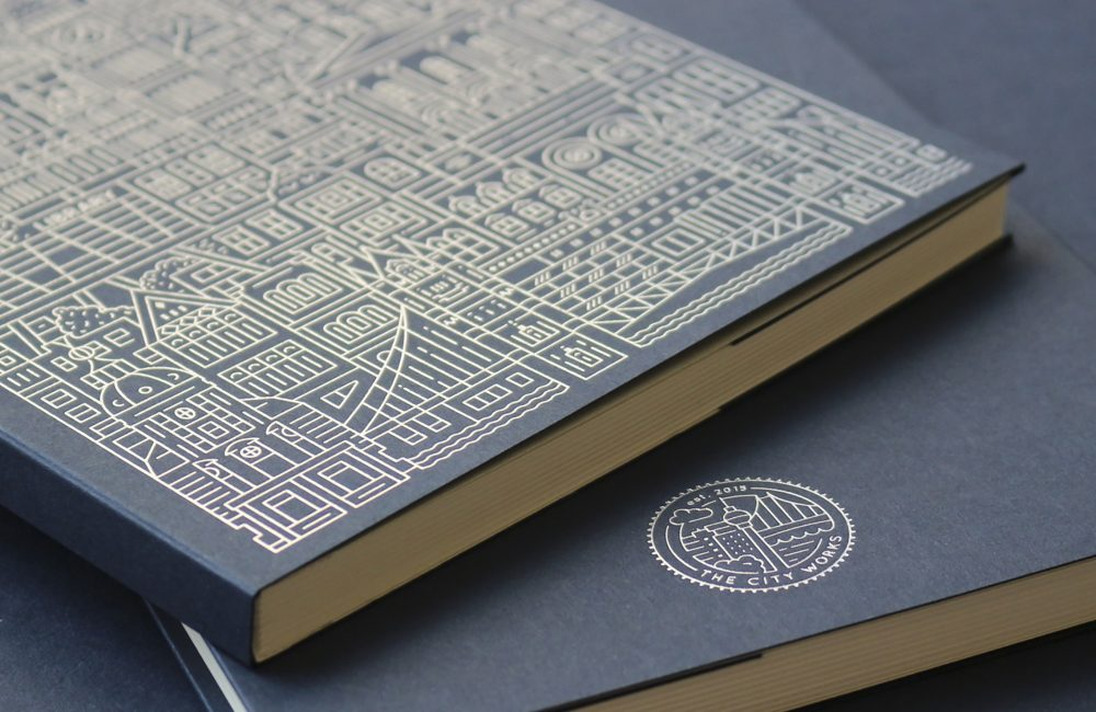 Foiled notebook with UAL and London buildings