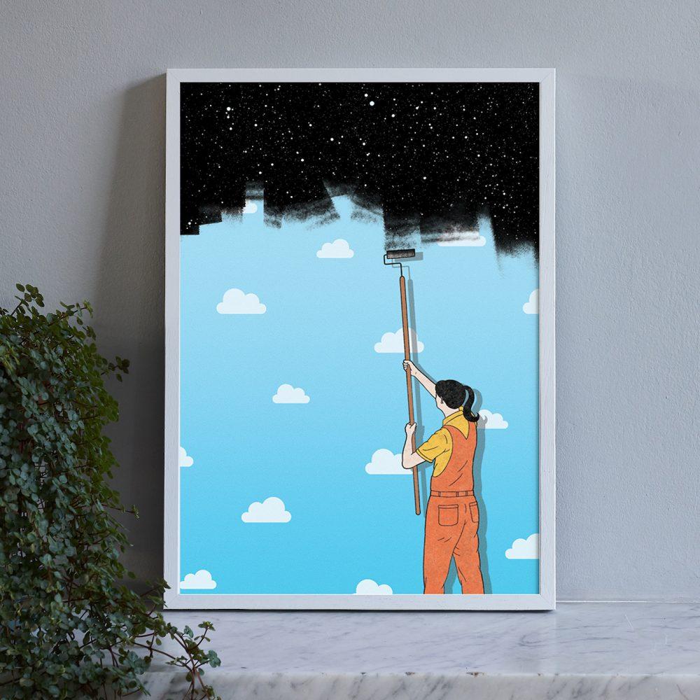 Woman painting sky print