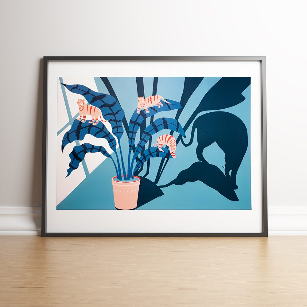 Limited Edition Art Print, Kitty Katz plant print by Jasmine Chin