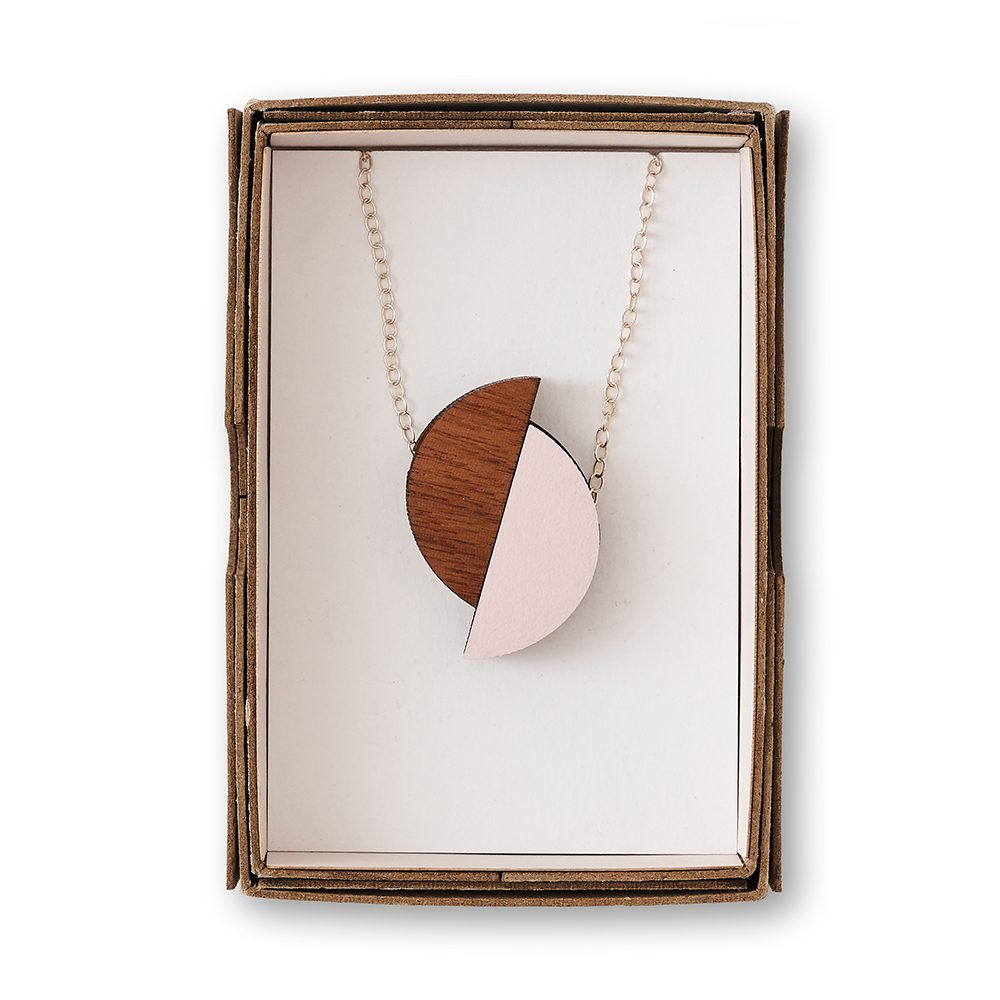 pink and brown necklace