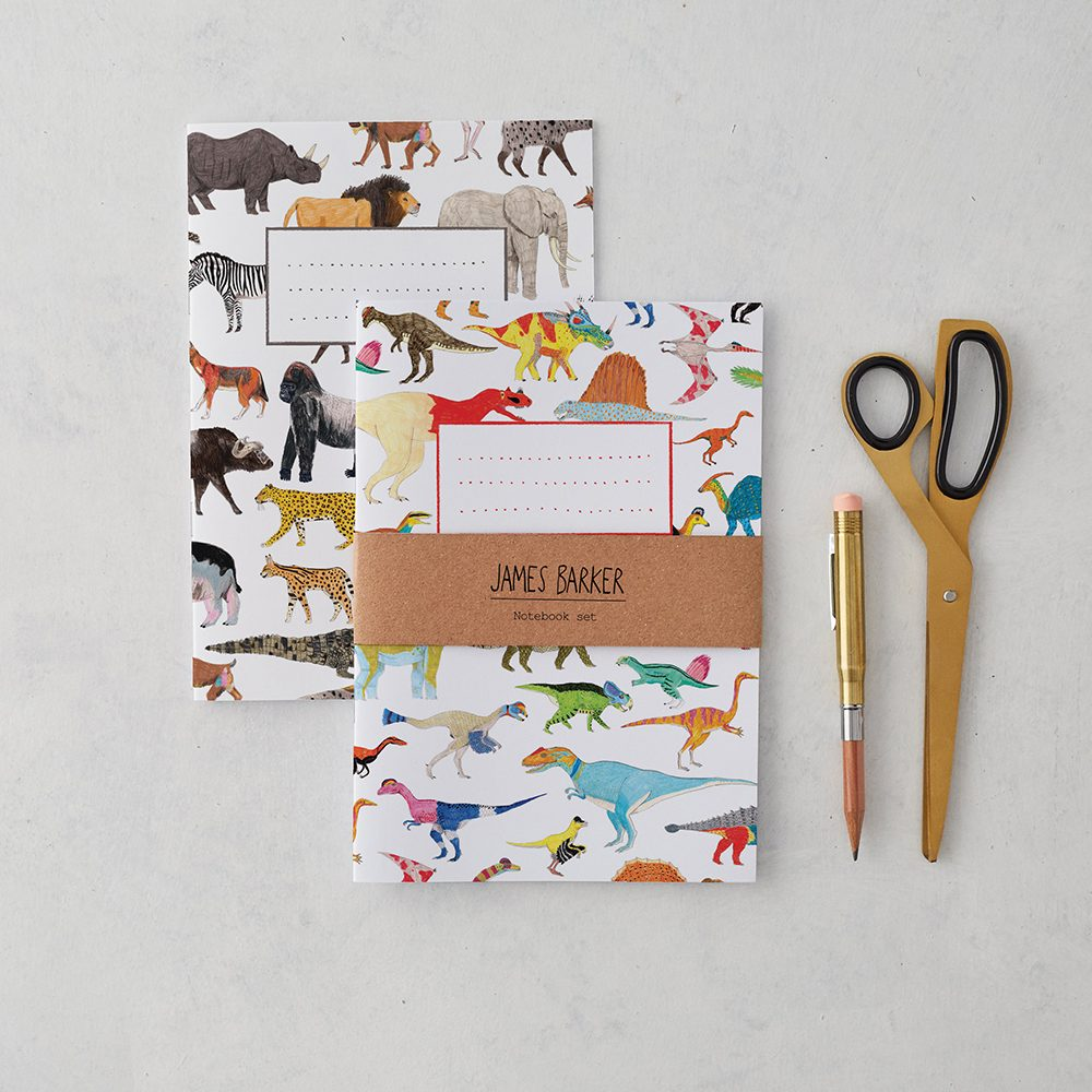 Luxury notebooks with dinosaur and safari animal illustrations