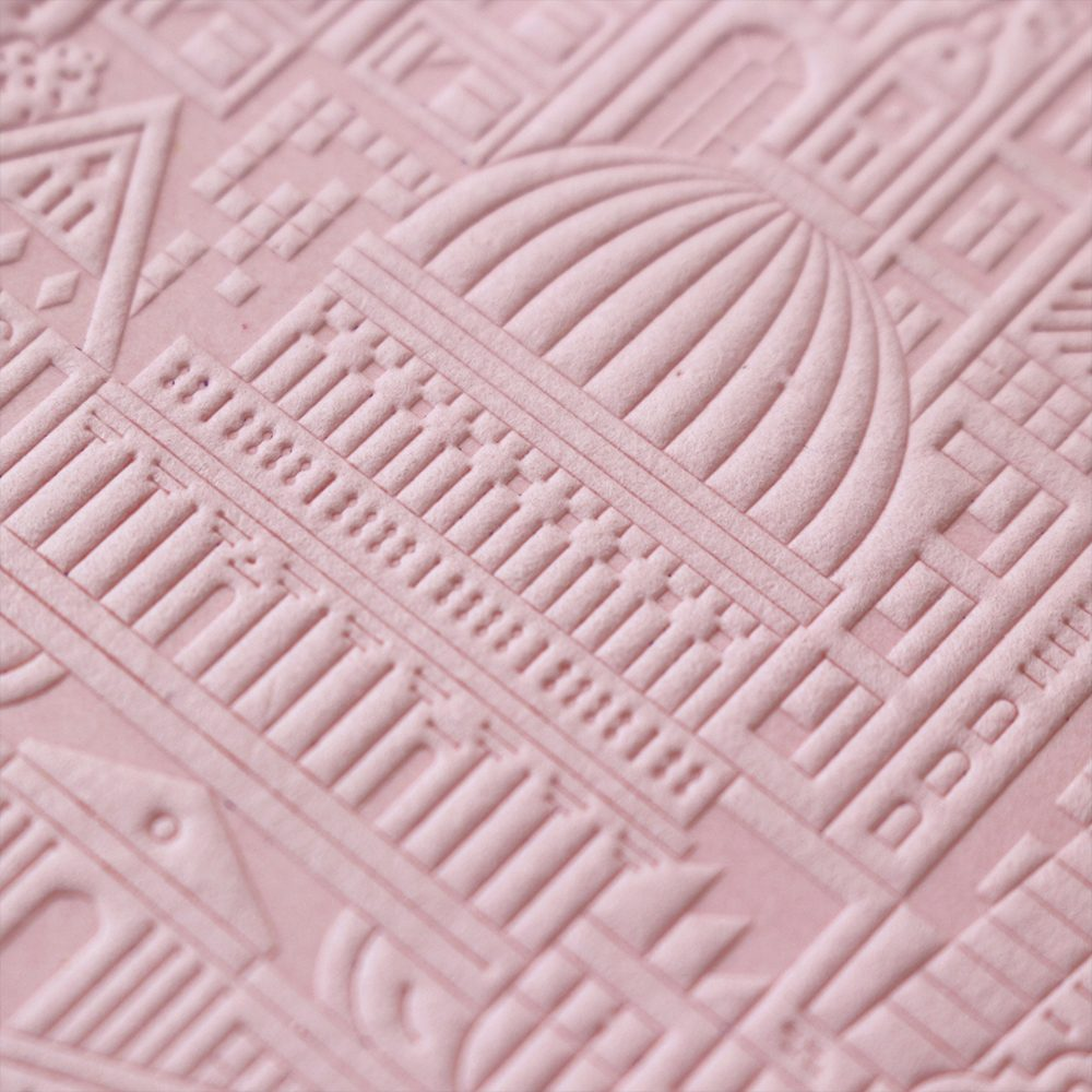 Luxury Notebooks - London Debossed A6 notebook detail pink