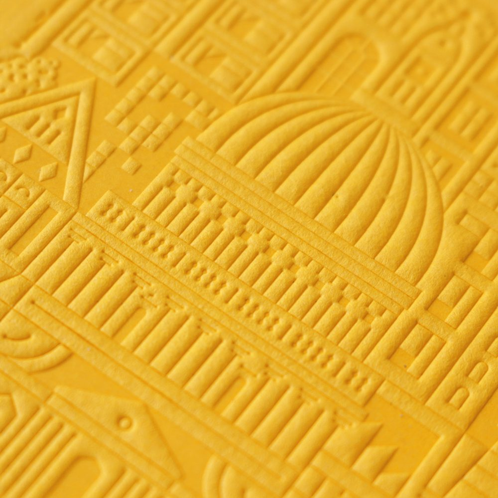 Luxury Notebooks - London Debossed A6 notebook detail yellow