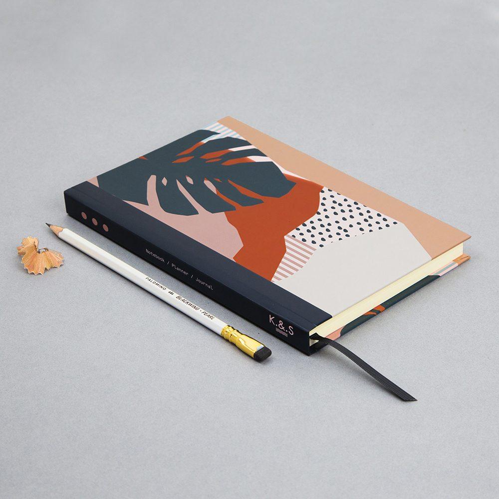 Leaf print luxury notebooks - Keeler and Sidaway