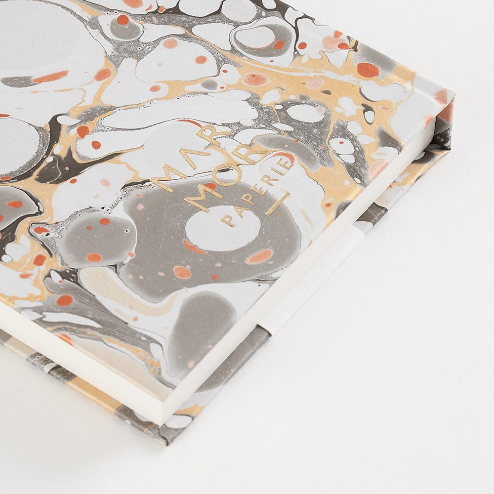 Luxury notebooks - handmade marbled metallic slate design