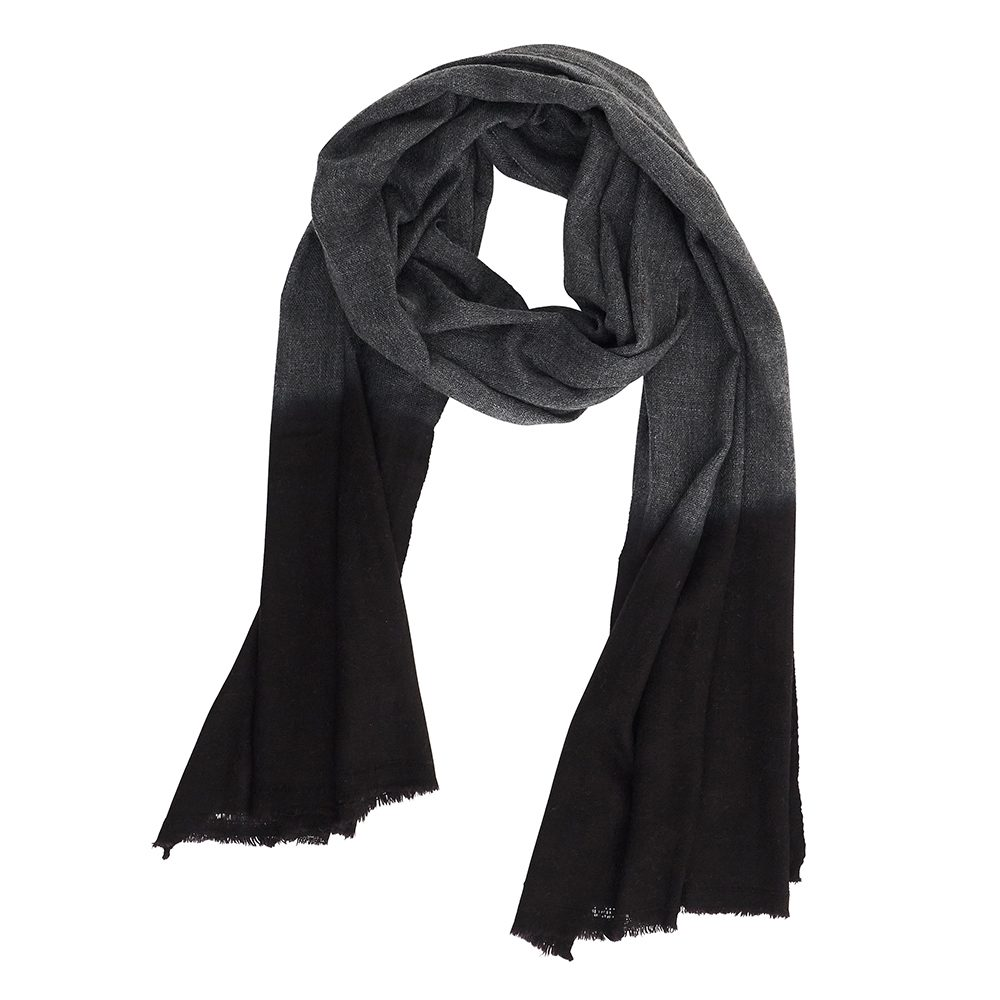 Luxury scarves black and grey dip dye