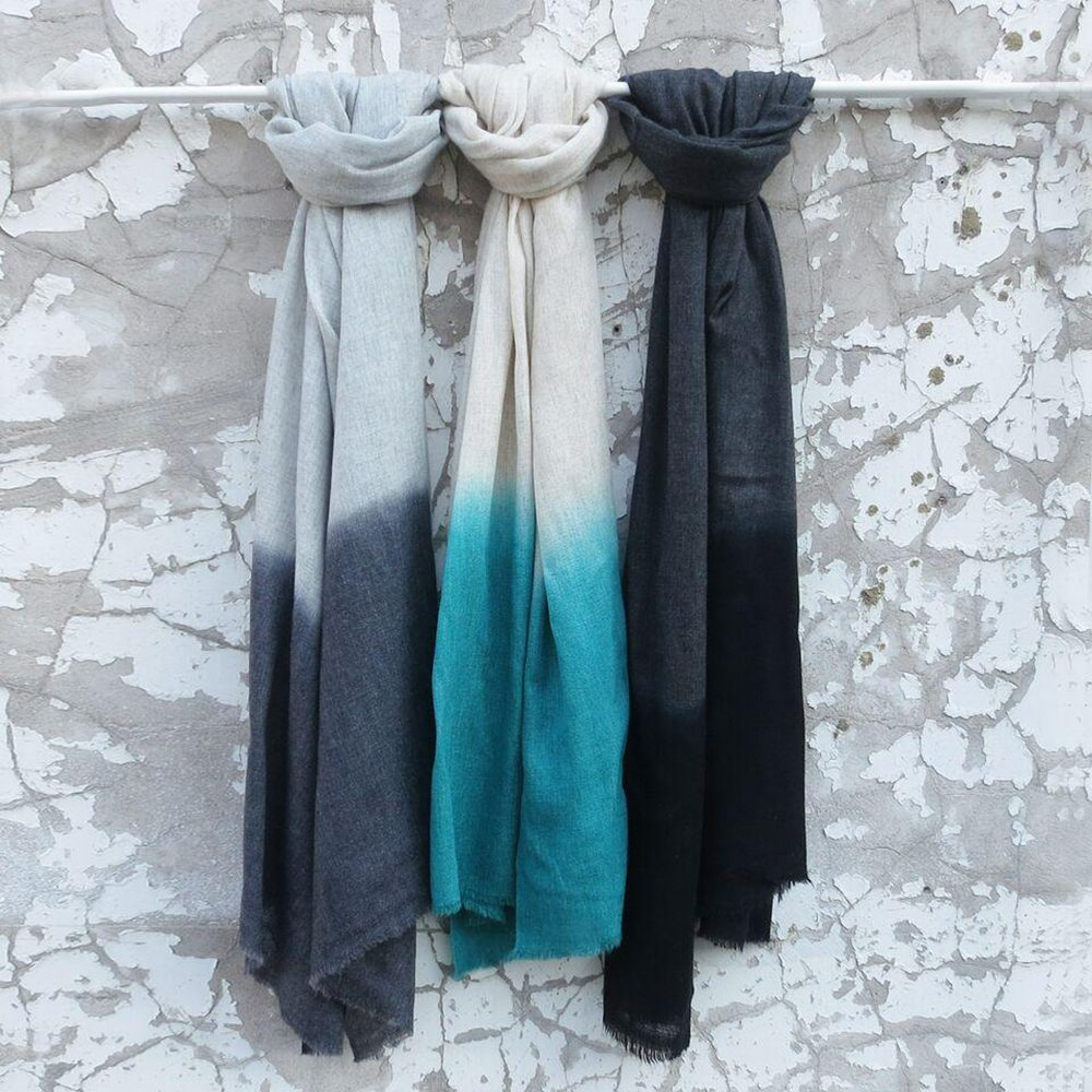 Luxury scarves teal dip dye