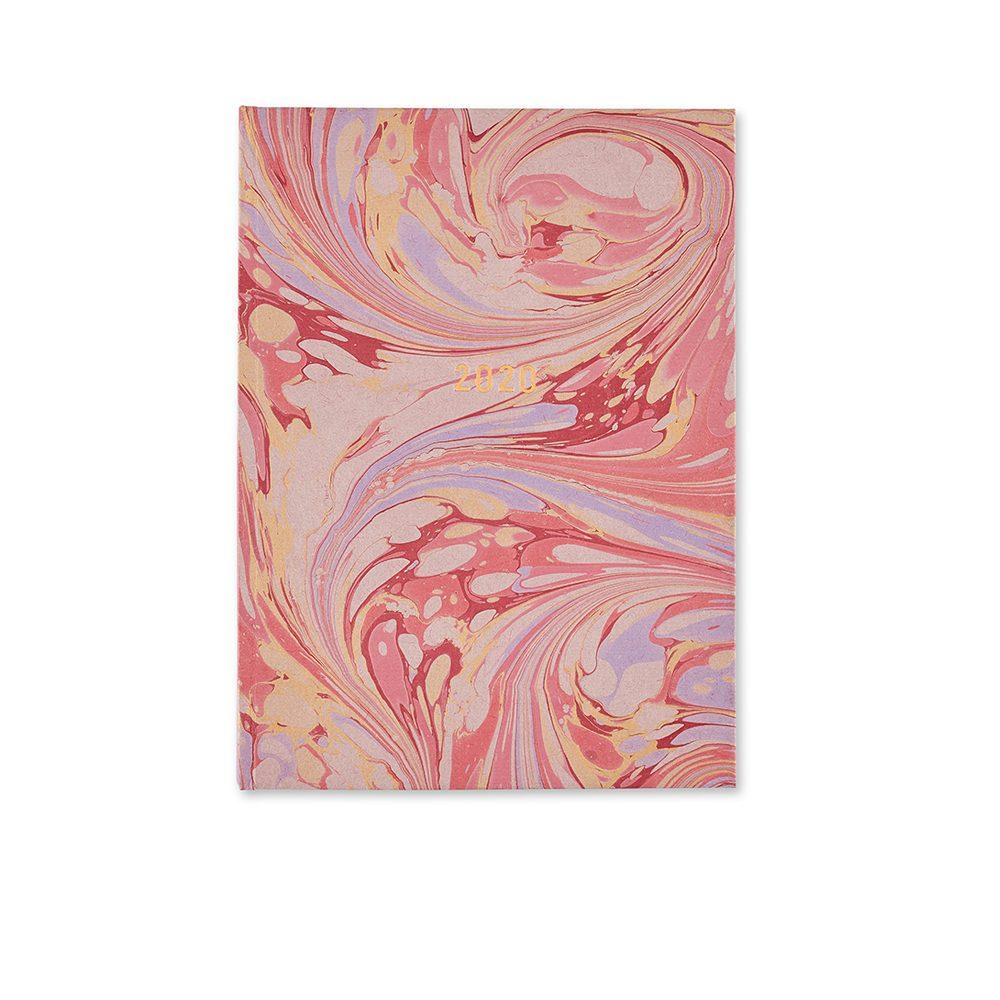 Luxury diaries - handmade marbled diary in pink