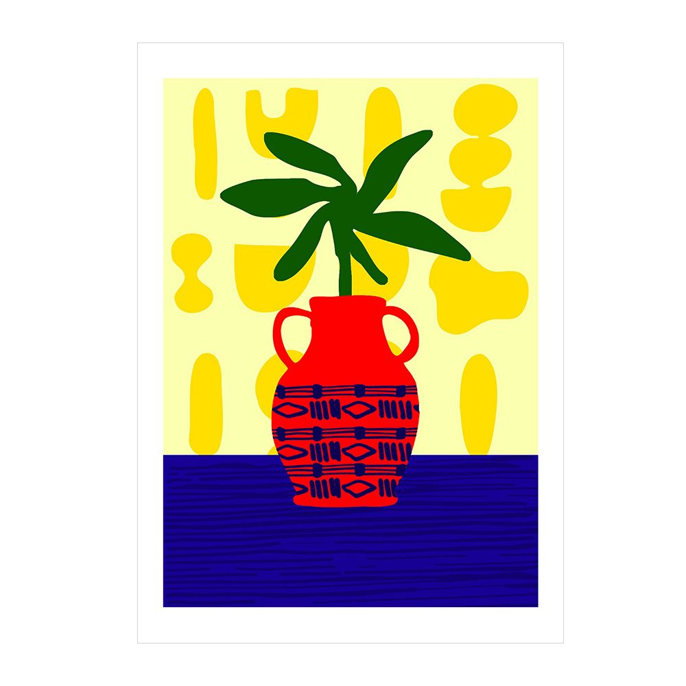 Modern Artwork - abstract red vase with leaves