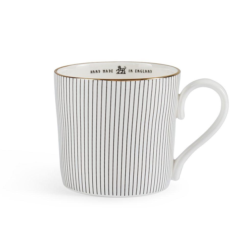 Modern tableware striped mug with 22k gold rim