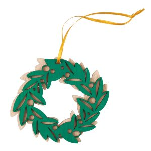 A laser-cut, hand-painted green wreath ornament with gold ribbon.