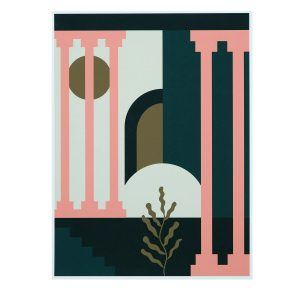 The Palace print, coral columns against a black and cream background.