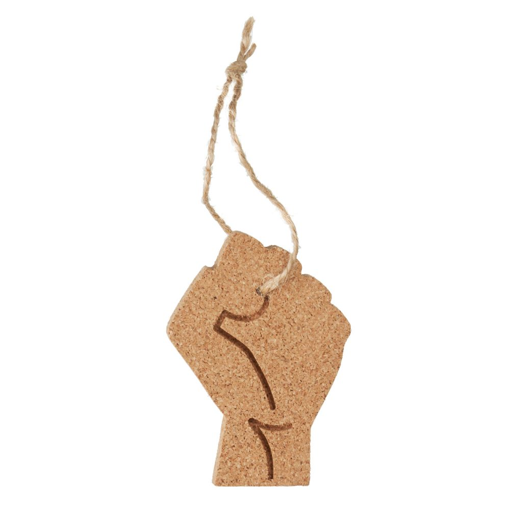A cork ornament with a raised fist design and twine loop.