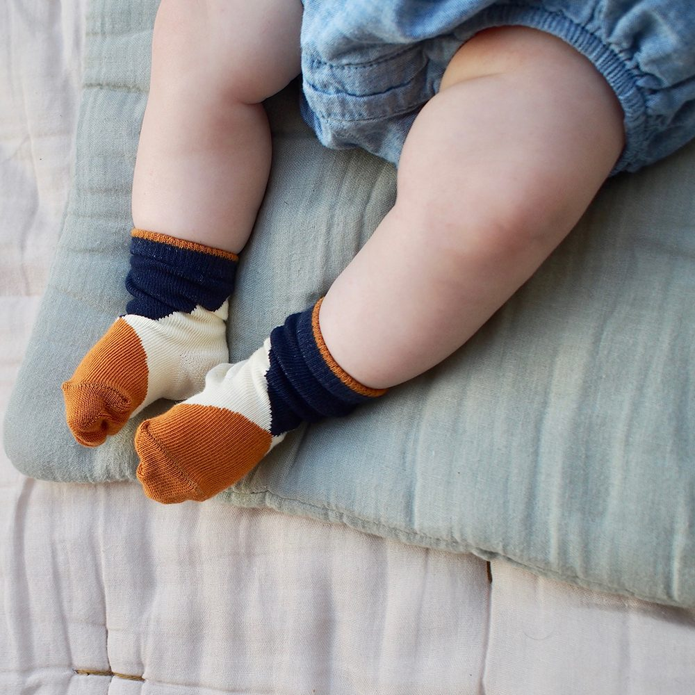 Organic Baby Socks - cream, orange, blue