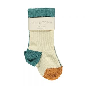 Organic Baby Socks - cream, orange and aqua