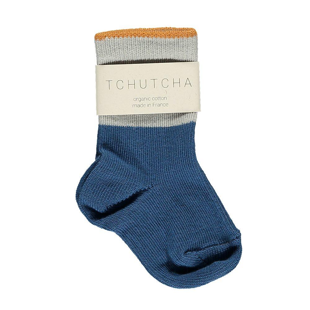 Organic Baby Socks - grey, orange, blue