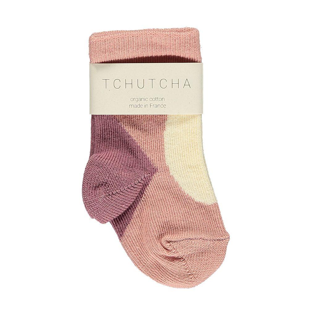 Organic Baby Socks - pink, cream and plum