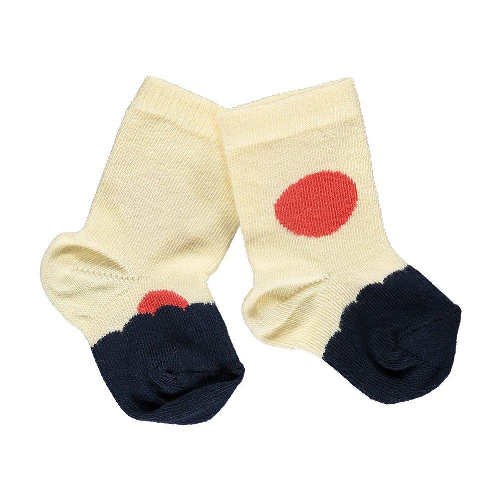 Organic Baby Socks - red, cream and navy
