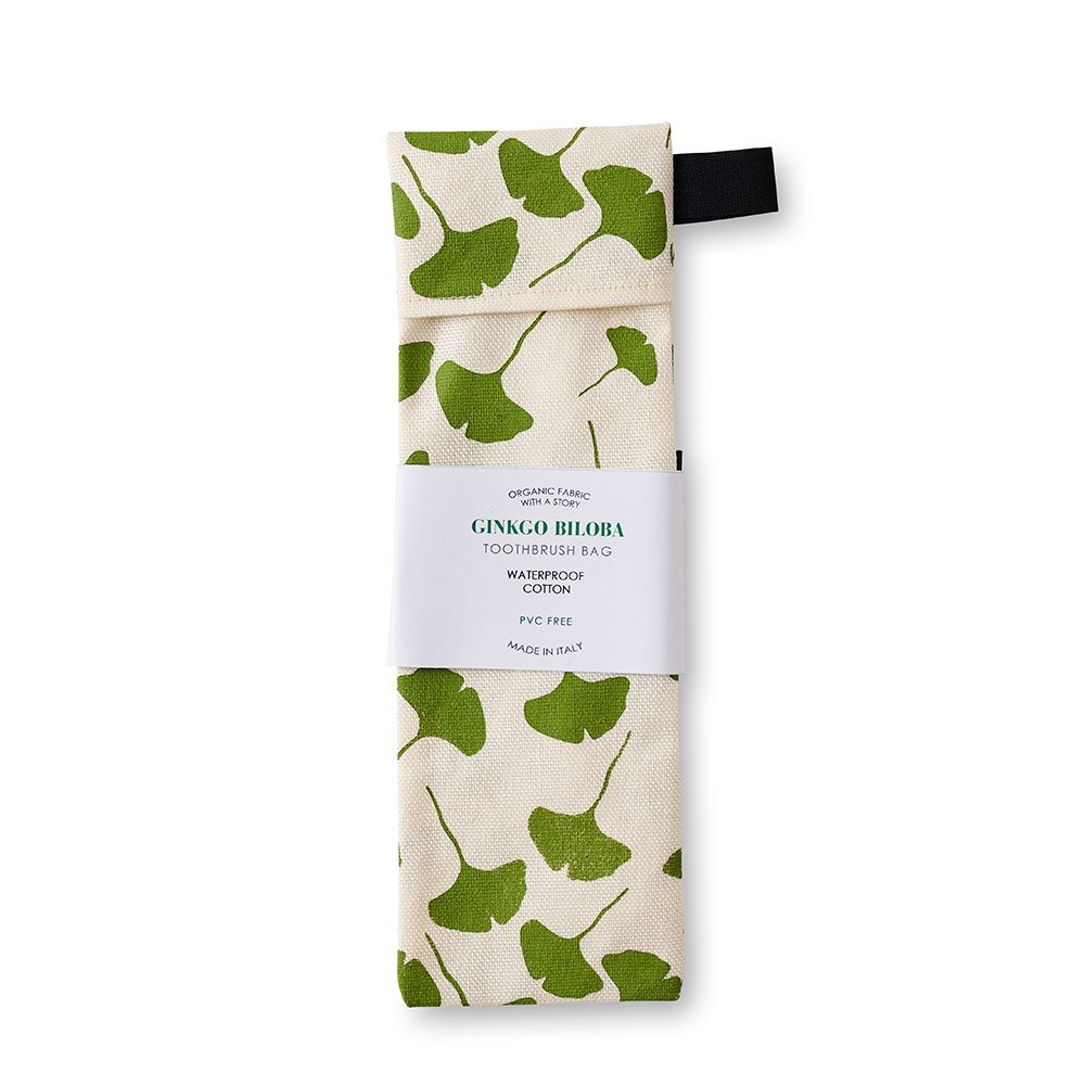 Fabric toothbrush bag with green leaf design