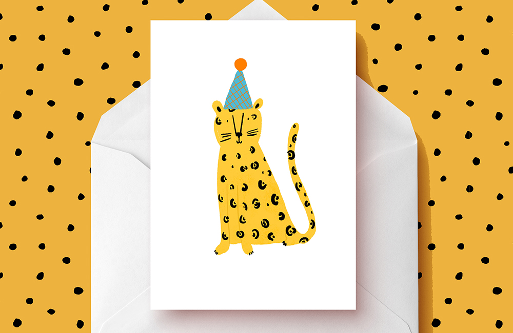 Party leopard illustrated card