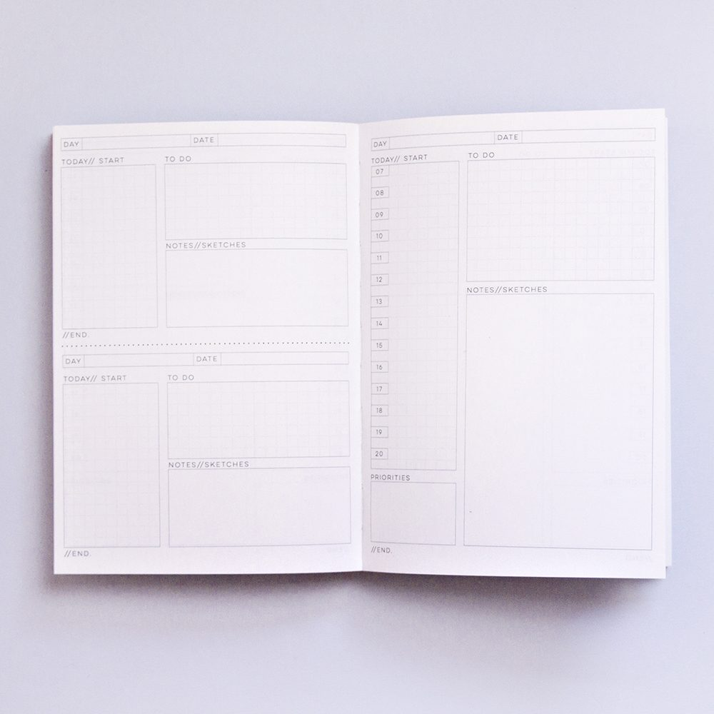 Inside pages of a Completist planner