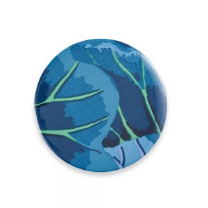 Pocket mirror with blue and green pattern