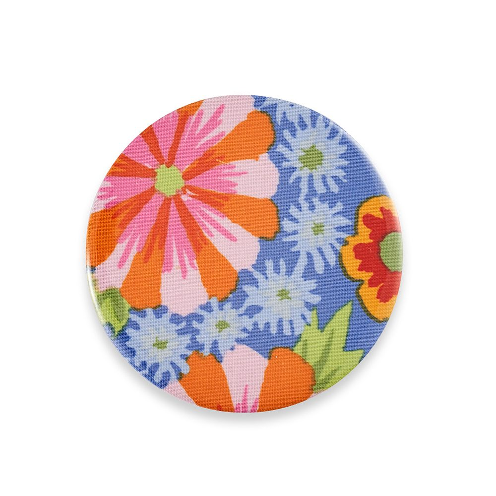 Pocket mirror with purple and orange pattern