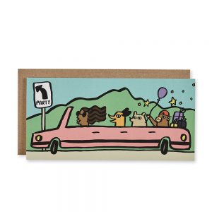 Quirky greetings cards - party car design