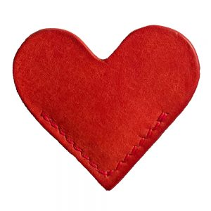 Red Heart Leather Book Mark