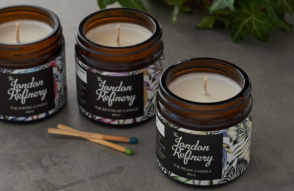 Set of 3 candles in jars