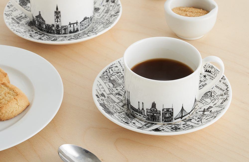 Cup and saucer with London landmarks
