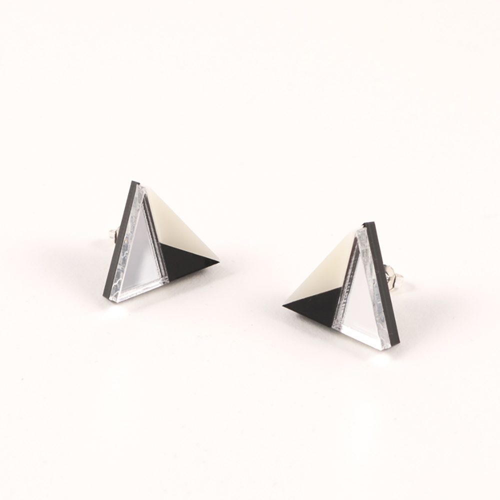 Statement earrings - Form 011 silver, black and ivory acrylic studs
