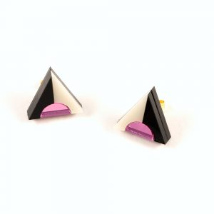 Statement earrings - Form 020 pink, black and ivory acrylic studs