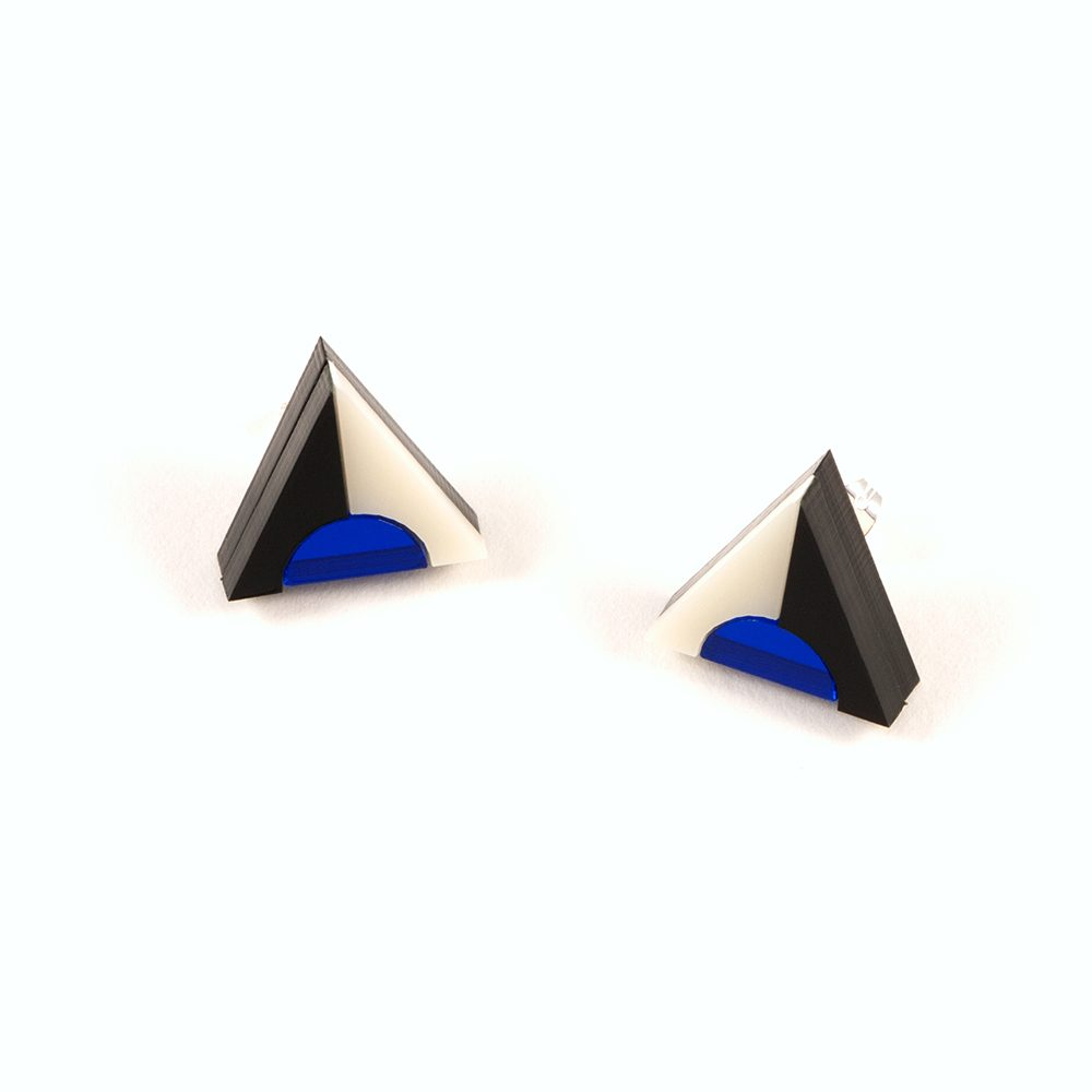Statement earrings - Form 020 blue, black and ivory acrylic studs