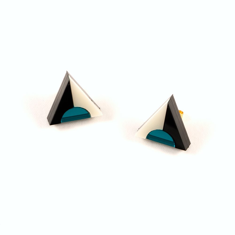 Statement earrings - Form 020 teal, black and ivory acrylic studs