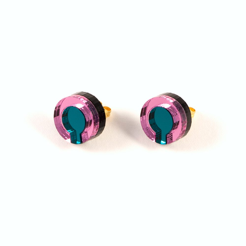 Statement earrings - Form 021 pink and teal acrylic studs