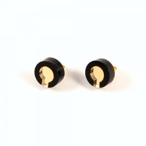 Statement earrings - Form 021 black and gold acrylic studs