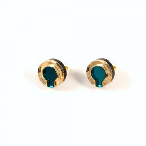 Statement earrings - Form 021 teal and gold acrylic studs