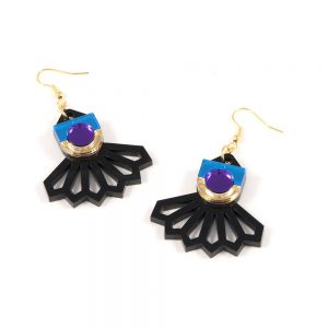 Statement earrings - Form 034 blue, gold and purple